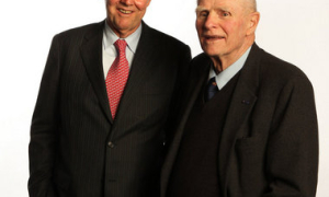John O'Boyle/The Star-Ledger Fromer New Jersey governors Tom Kean and Brendan Byrne.