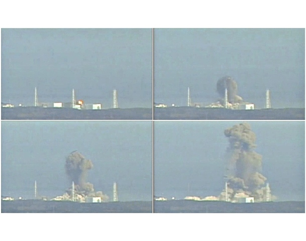 A combination photo made of still images from video footage March 14, 2011, shows the explosion at Fukushima Daiichi nuclear power complex.