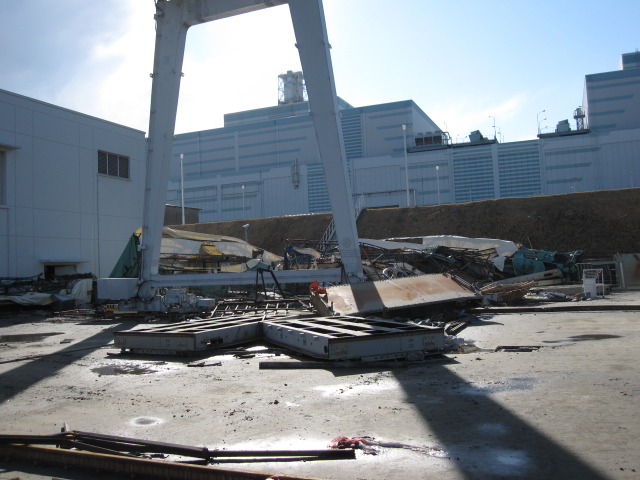 Debris scattered by Tsunami