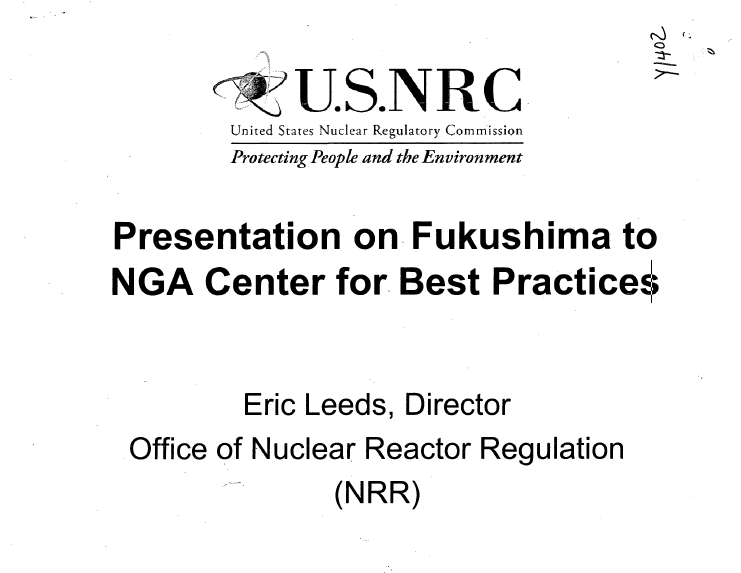 Presentation on Fukushima