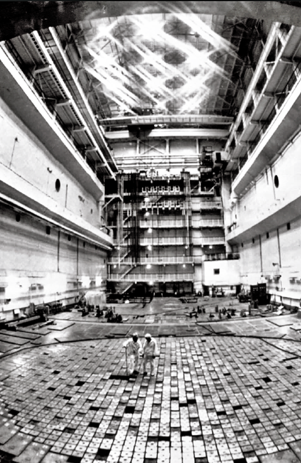 Workers on the floor of the nuclear reactor at Chernobyl