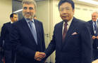 Industry and trade minister Yukio Edano gets together with Turkish energy minister Taner Yildiz