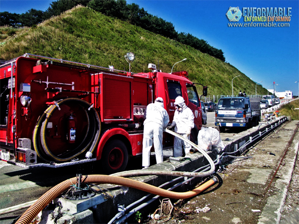 Injecting seawater using fire engine (pictured on October 12, 2011)