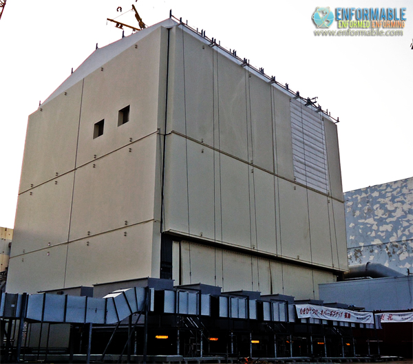 the roof panel of the cover for the reactor building at Unit 1 (pictured on October 14, 2011)