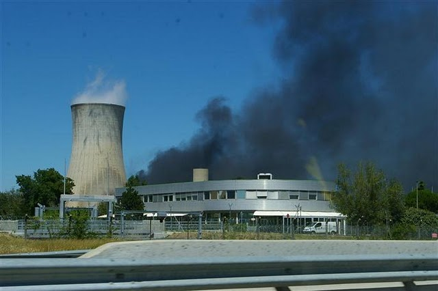 Smoke rises from a fire at the French Tricastin Nuclear Power Plant in 2011