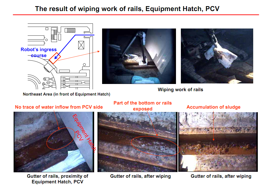 Wiping work of rails for the equipment hatch2