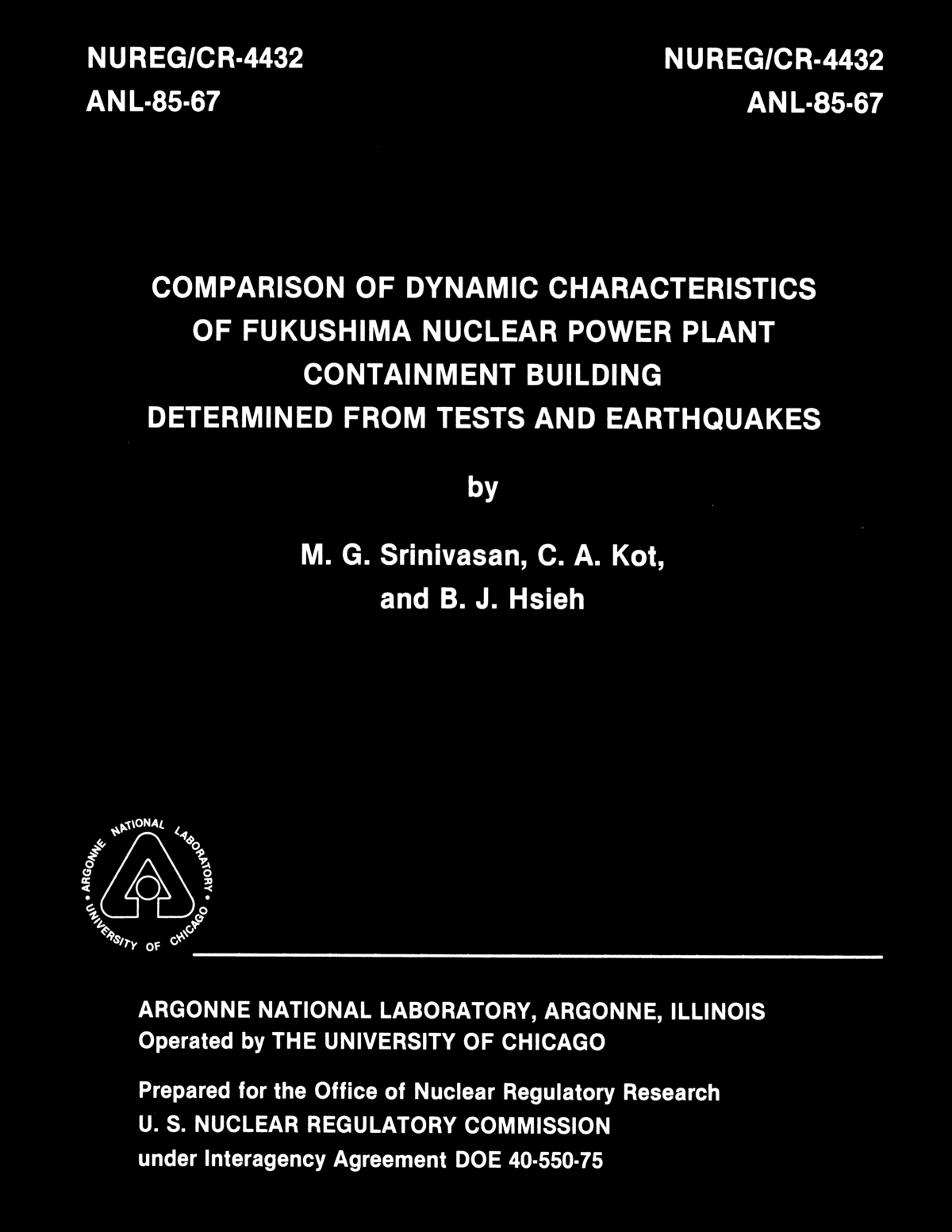 Enformable NUREG CR-4432, Comparison of Dynamic Characteristics of Furkushima nuclear Power Plant Containment Building Determined from Tests and Earthquakes._Page_01