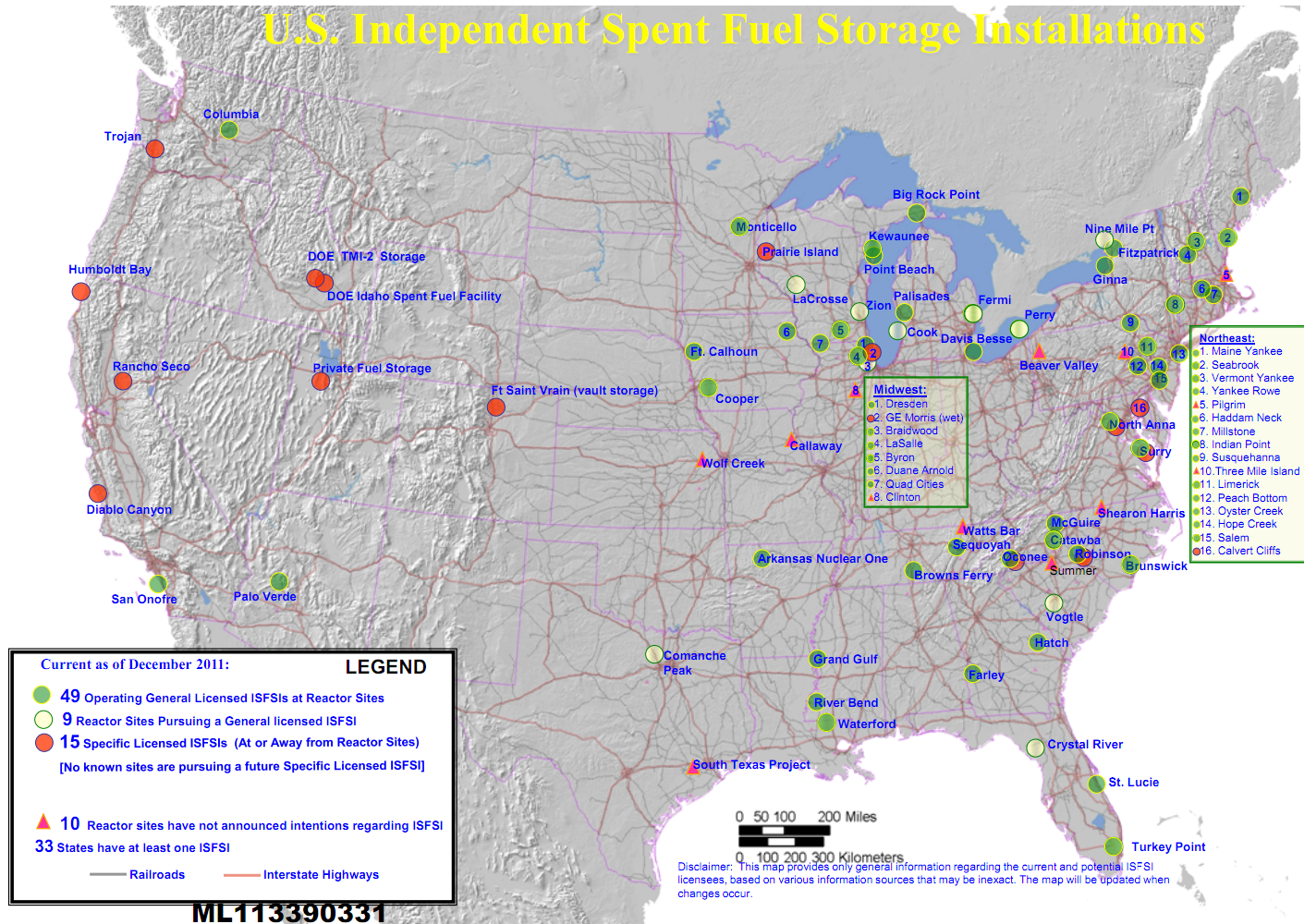 U.S. Independent Spent Fuel Storage Installations