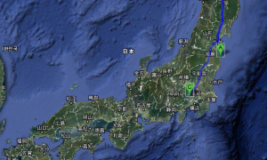 (A) - Fukushima Daiichi Nuclear Power Plant -- (B) - Misawa USAF -- (C) Yokota USAF --  Total Distance Over 640 Miles