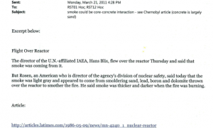March 21st, 2011 - The director of the U.N.-affiliated IAEA, Hans Blix, flew over the reactor Thursday and said that smoke was coming from it.