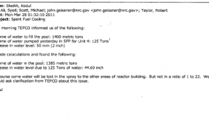 March 28th, 2011 - Reactor 4 Spent Fuel Pool Specs and Question About Where Cooling Water Is Going