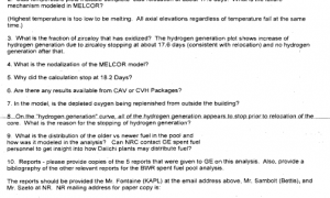 NR Program Questions on NRC BWR MELCOR Spent Fuel Assessment
