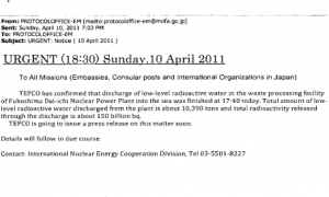 Pages from C143073-02CX --13 Total amount of low level radioactive water discharged from the plant is about 10,390 tons and total radioactivity releasedthrough the discharge is about 150 billion bq