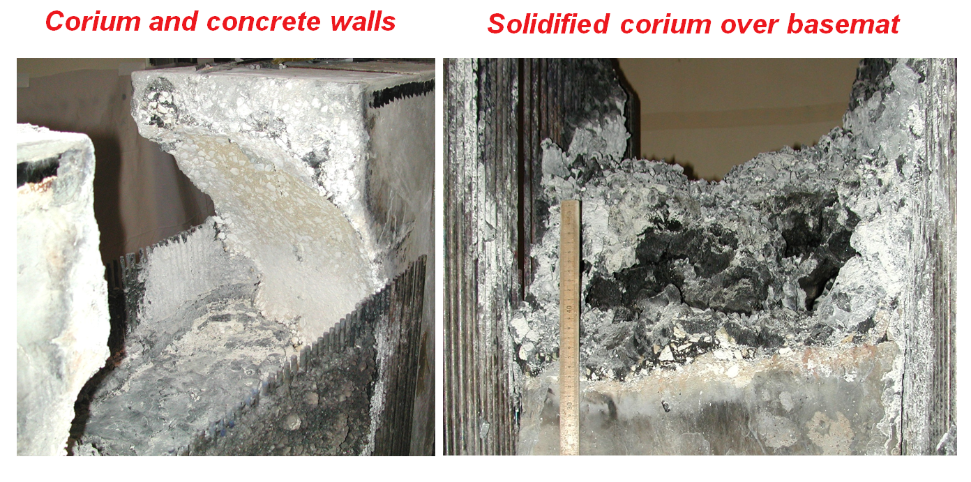 Solidified corium and concrete walls