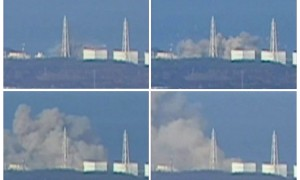 This combination photo shows smoke rising from Fukushima Daiichi 1 nuclear reactor after an explosion