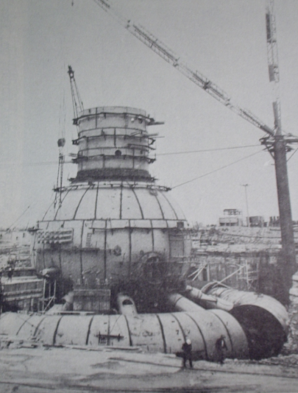 The drywell and suppression chamber of the Nine Mile Point plant while under construction.