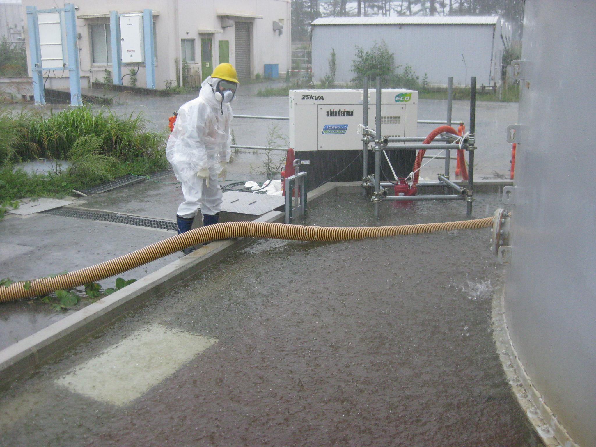On Sunday and Monday, a severe tropical storm swept over Japan and heavy rains were experienced at the Fukushima Daiichi site, which led Tokyo Electric workers to release more than 1,100 tons of contaminated rainwater, which contained some 25 becquerels per liter of radiation, onto the surrounding area to prevent more-contaminated water from leaking.