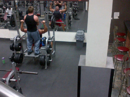 A photo of Landon Brittain and Michael Buhrman working out at a gym in Venezuela.