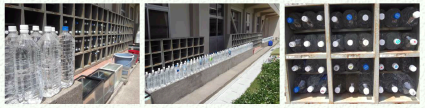 Water bottles used as radiation shielding