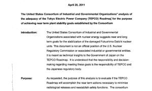 April 29th, 2011 - Consortium  analysis of TEPCO Roadmap at Fukushima Daiichi