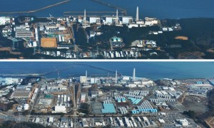 The Fukushima Daiichi nuclear power plant pictured in March 2011 (top) and March 2014 (bottom).