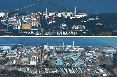 The Fukushima Daiichi nuclear power plant pictured in March 2011 and March 2014.