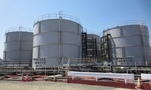 Storage tanks used to retain groundwater pumped up from operations