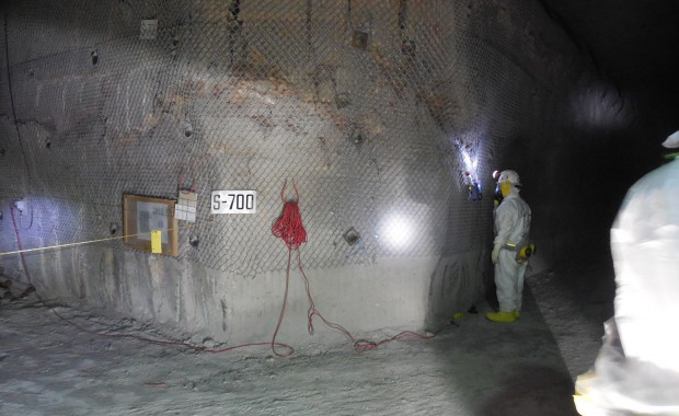 A photo provided by the Department of Energy showing workers inside of the Waste Isolation Pilot Plant for the first time since the radiation release on February 14th.