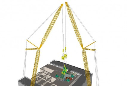 TEPCO plans to use two remote-controlled cranes to remove the fuel handling machine, which is currently resting on top of the spent fuel racks in the spent fuel pool.